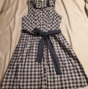 ModCloth - Yellow Star - Navy Blue Gingham Dress M